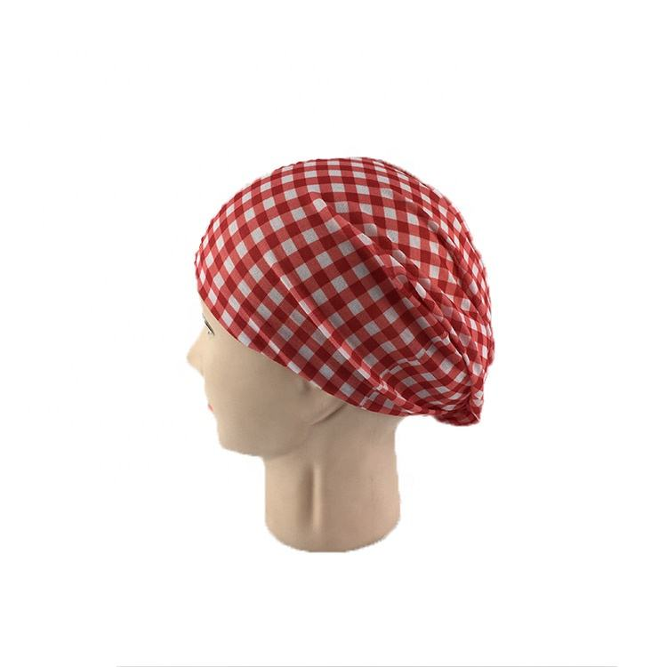 fashion 100%polyester Red and white plaid Scottish style multi-functional seamless head scarf hijab