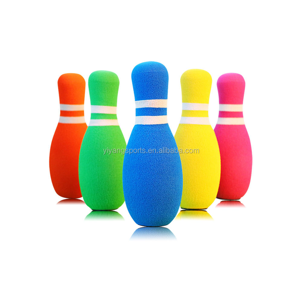 2020 hot toys good quality cheap price soft 6 pieces kids plastic bowling pins and ball toy foam bowling set for backyard games