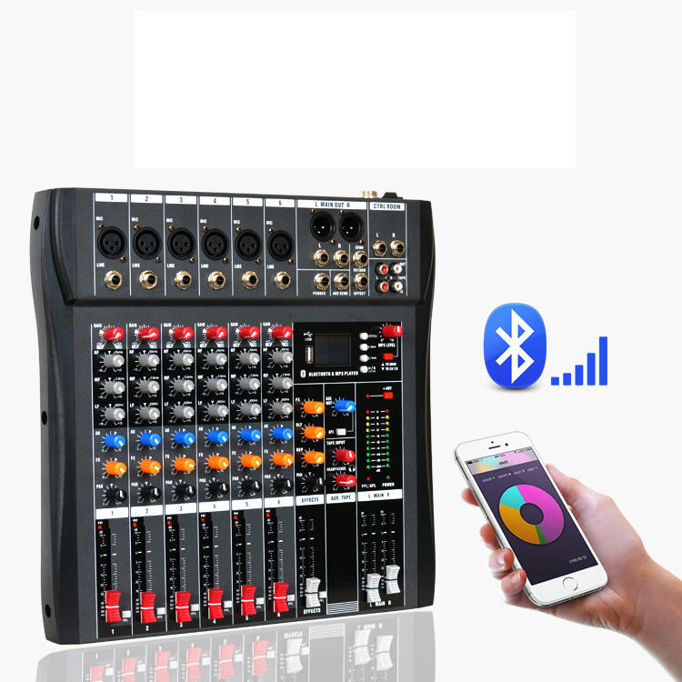 Wholesale Cheap price sound mixer updated 6 channel series blue tooth function audio mixer console with USB mini dj mixer