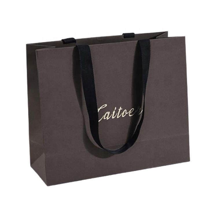 black luxury custom recyclable printed paper shopping bags with logos