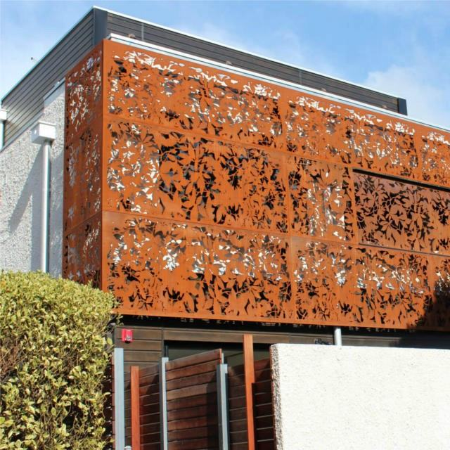 Decorative Outdoor Corten Steel Wall Panel Facade Screen Curtain Wall