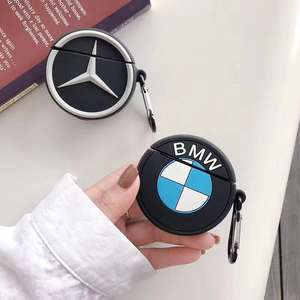 Earphone Accessories Soft Skin For Apple Airpods 2 Silicone Case 3D Car Logo Design for BMW Mercedes Benz Full Protective Cover