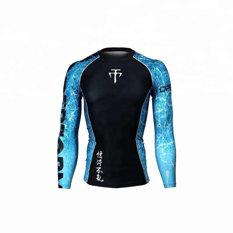 Compression Gym Shirts Long Sleeve Custom BJJ Rashguard MMA Sublimated Mens Rash Guard
