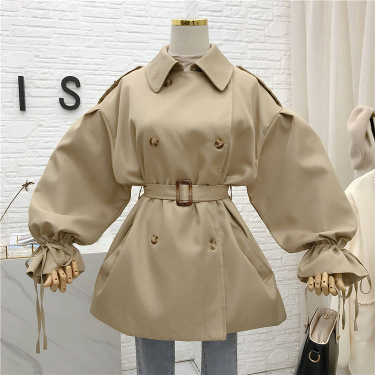 Puff Sleeve Christmas Loose Classic Women Fashion Stylish Trench Coats Lapel Collar Casual Oversize Womens Trench Coat Khaki r11