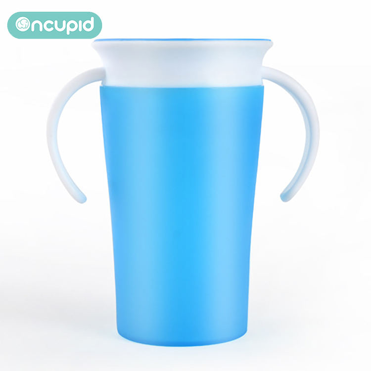 Food grade PP babies 360 degree drinking cups Miracle 260ml water training cup with two handles