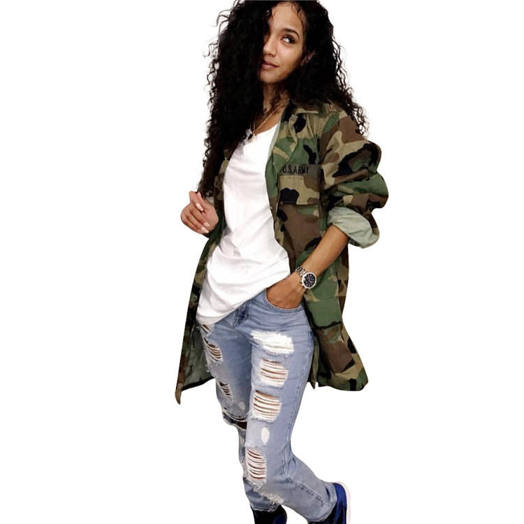 New Style Ladies Long Camouflage Coat Custom Jeans Windbreaker Denim Motorcycle Jacket Woman Supplier In China