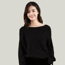 2019 autumn fashion style Loose Pullover long sleeve Knitwear women's boat neck Sweater
