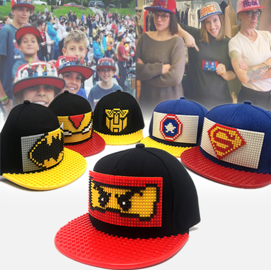 2020 Lego 5 Panel Flat Brim Cap With Your Own Custom Pattern Children Toy Cap Lego Hat