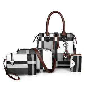 Премиум Винтаж искусственная кожа для женщин сумки наборы для ухода за кожей 4 шт. комплект Сумочка с Шарм кисточкой