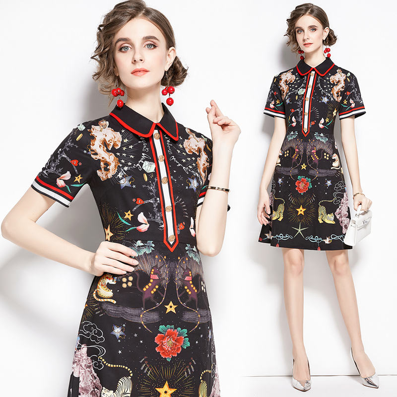 Wholesale Real Photos Metal Buttons Short Sleeve Turn Down Collar Vintage Print Fitted Knee Length Dress
