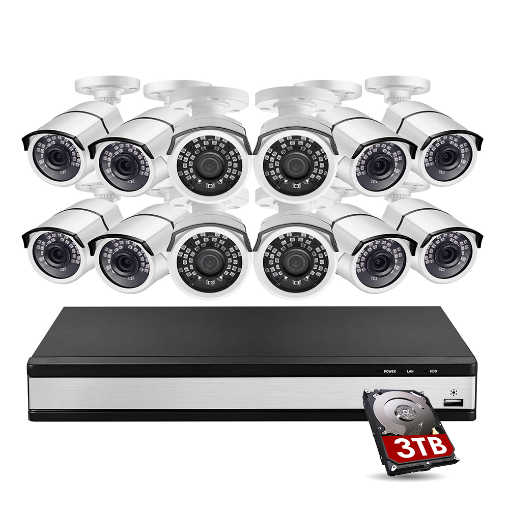16 Channel 1080p Waterproof IR Night Vision Camera System motion detection camera with hard drive 3TB