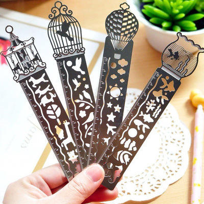Hollow Bird Cage ruler FIsh Tank Metal Bookmark Ruler Multi-functional Scale cute metal ruler wholesale factory