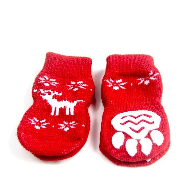 Full cotton cartoon skidproof waterproof warm animal feet Christmas small dogs socks for pet