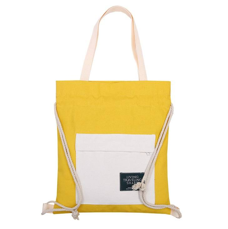 Wholesale Cheap Hot Selling Standard Size 12oz Canvas Zipper Tote Bag Fashion Promotional Cotton Drawstring Handbag