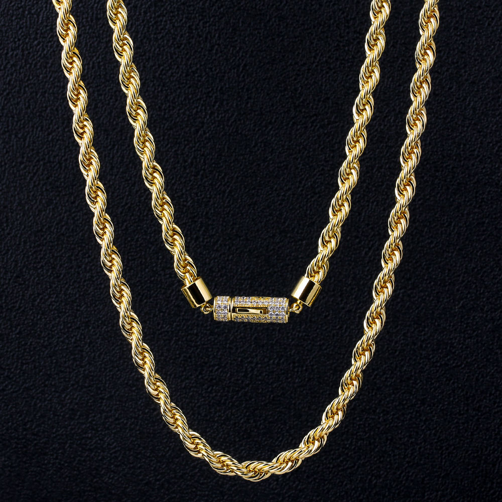 KRKC&CO 6mm 24inch Wholesale 14K Gold Rope Men's Hip Hop Jewelry Necklace Rope Chain