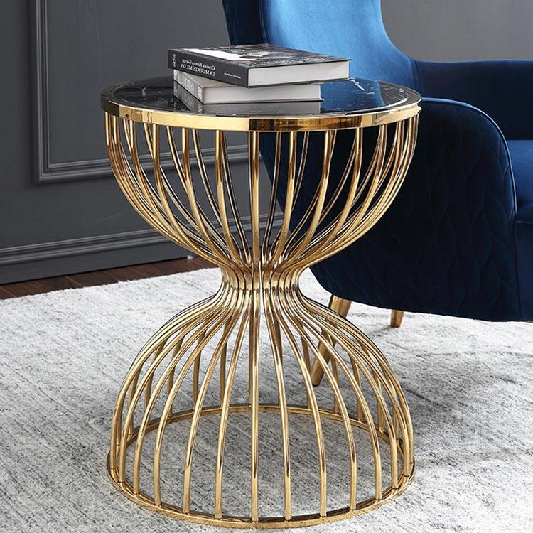 Nordic modern furniture living room metal wire frame marble side coffee table
