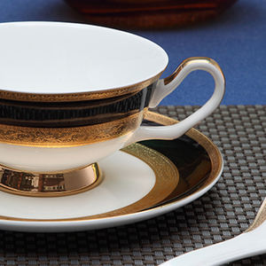 Royal Bone China Teacup And Saucer Embossed Ceramic Coffee Cup Set With 24K Golden Rim