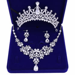 Wholesale Girl Bling Bride Hair Accessories Tiaras Earrings