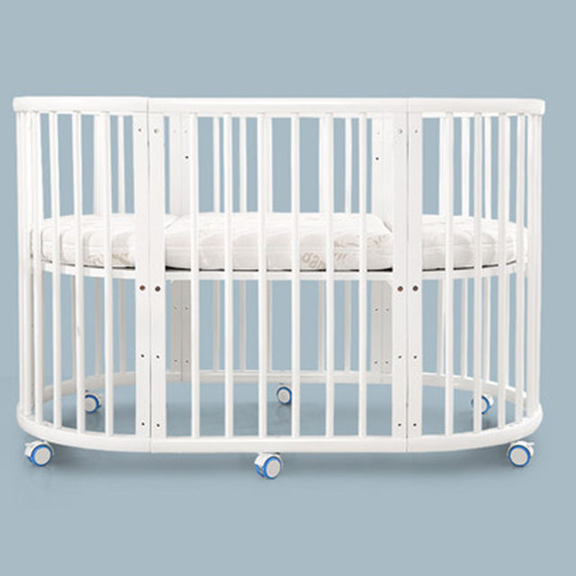 Multifunctional White Baby Crib Cot Pine Wood Baby Bed Price Adjustable Wooden Baby Crib Cot