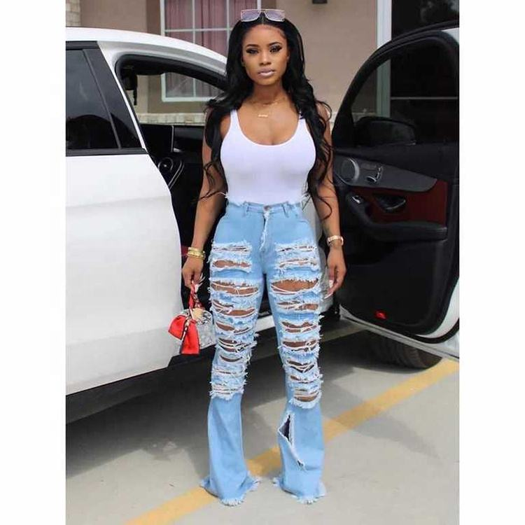 Ladies Fashion 2020 Sexy Mid Waist Distressed Women Flare Bootcut Ripped Jeans Pants