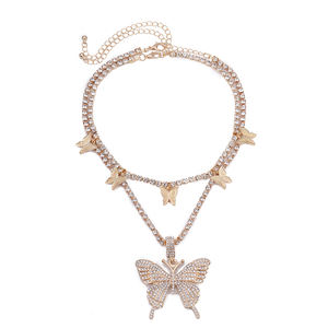 Amazon Explosive Diamond Butterfly Necklace Cuban Large Gold Chain Rhinestone Necklace