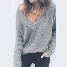 2020 Soft Pure Elastic Sweaters Pullovers for Women Autumn Winter Sweater V-Neck ladies woolen sweater