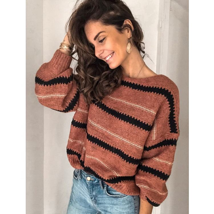 Hot Selling Striped Casual Knit Women's Sweaters 2020
