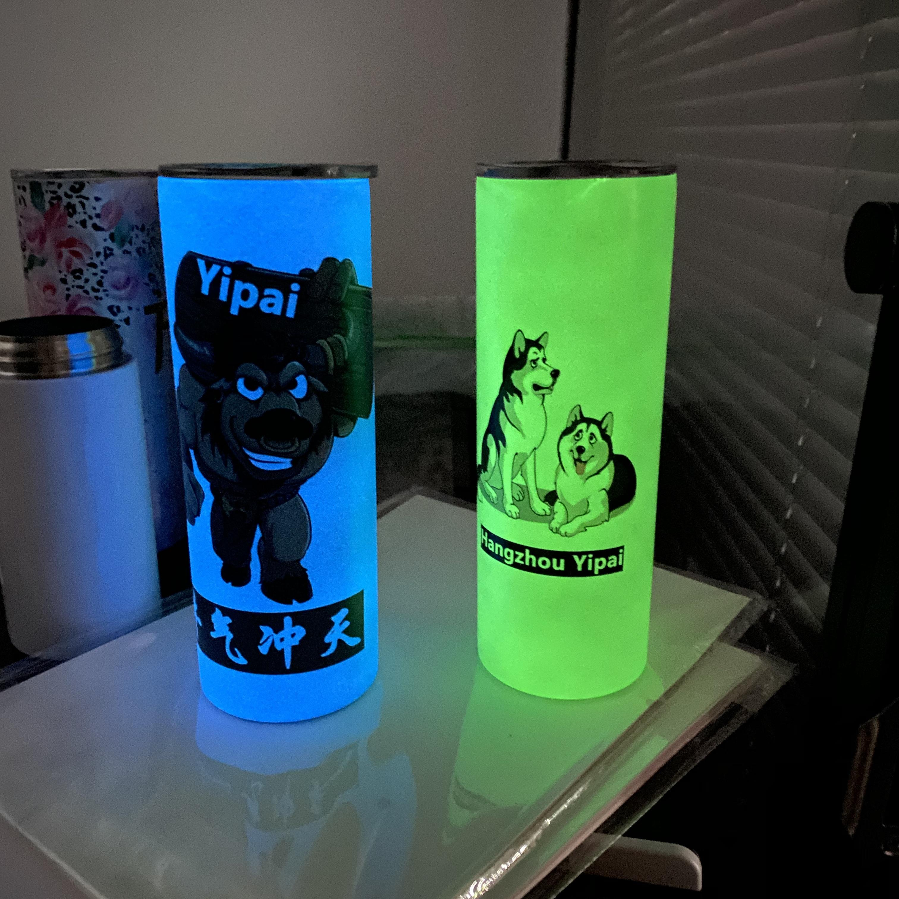 Hot sale BPA-free DIY blank sublimation double-insulated 304 stainless steel 20oz glow in dark luminous paint straight tumbler