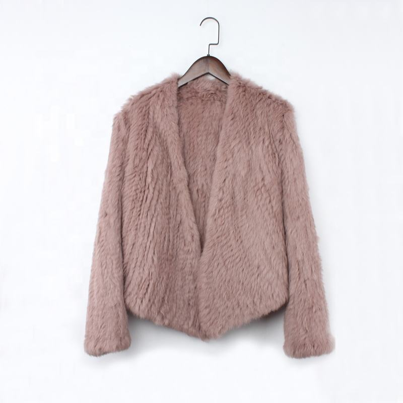 Fashion Rabbit Fur Coat Women Short Thick Knitted Rabbit Fur Jacket