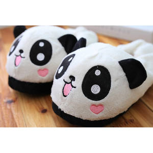 Furry stuffed animal shaped winter indoor slippers plush panda slippers