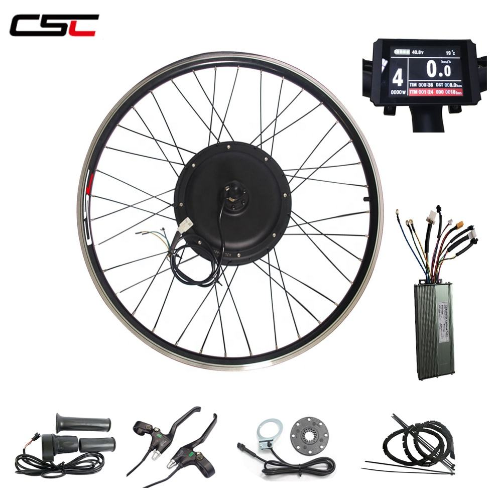 CSC Free Shipping 48V 1000W 20''-29'' electric bycicle conversion kit with Color LCD8 display
