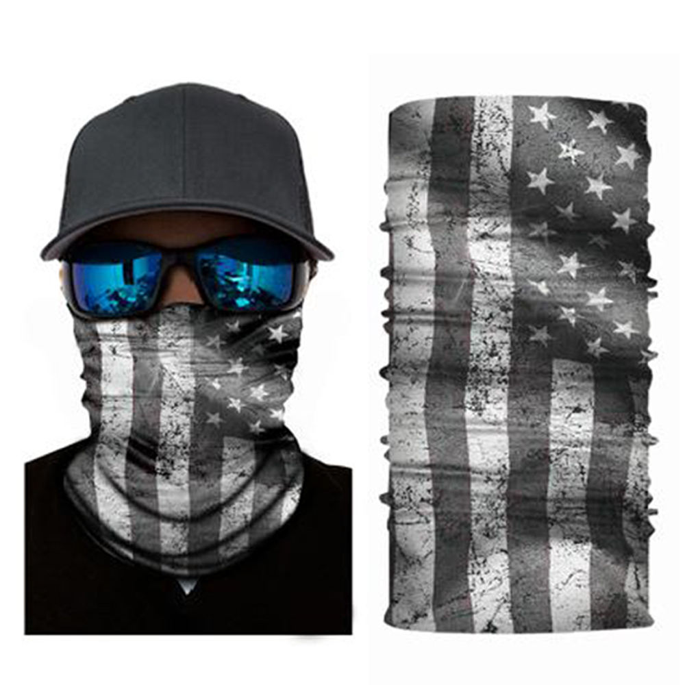 Custom printing polyester fabric skull usa american flag face bandana mixed