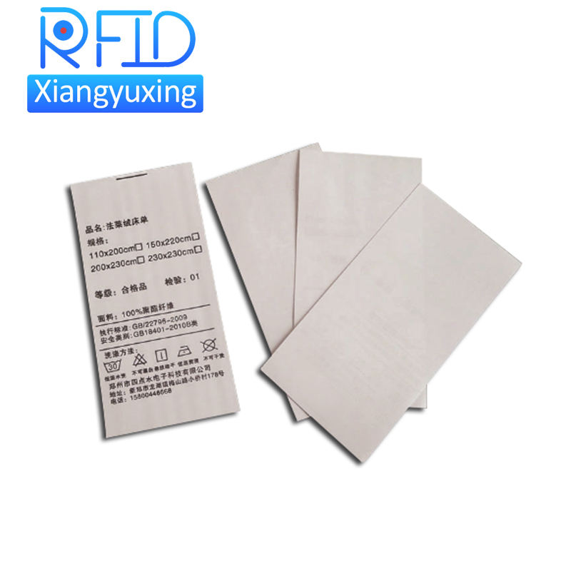 Custom Barcode Printing ISO14443A/ISO15693 Textile Rfid Woven Washing Label For Clothing