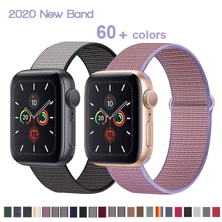 2020 New Release I Watch Strap Colorful Apple Watch Woven Nylon Band 44ミリメートル42ミリメートル40ミリメートル38ミリメートルStrap For私はWatch Series 6/5/4/3/2/1