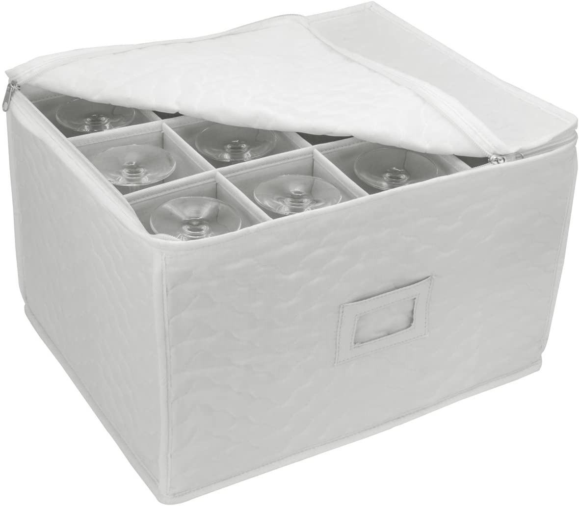 Stemware Storage Chest - Deluxe Quilted Case with Dividers - Service for 12 - Great for Protecting or Transporting Wine Glasses