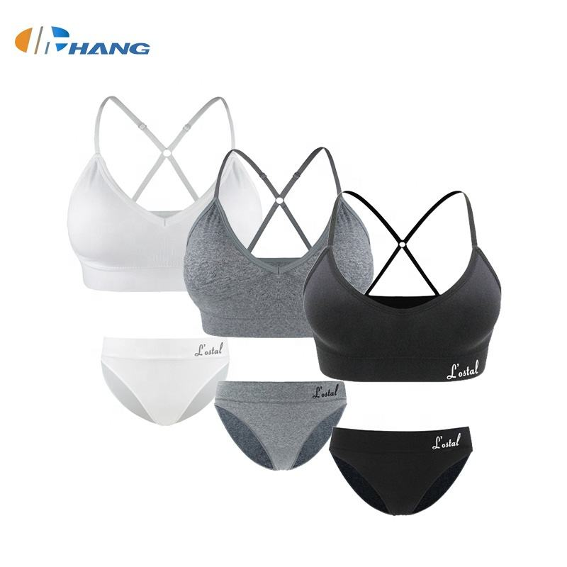 2020 Custom Free Sample Plain Women Sexy Seamless Camisole Yoga Bra and Briefs Sets