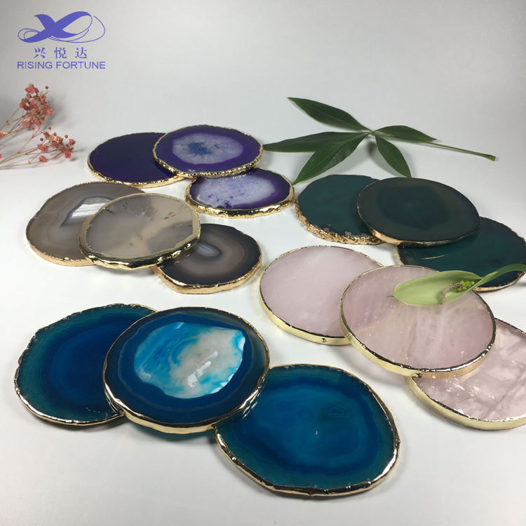 Brazilian agate coaster with gold