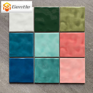 Easy Clean Kitchen splash Porcelain Embossed Color Glazed Wall Tiles 150*150 Mm Lawn Green Ceramic Color Glazed Tiles