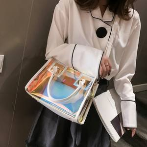 2pcs Clear Jelly Handbags Waterproof PVC Shoulder Transparent Tote Bag PVC Handbag