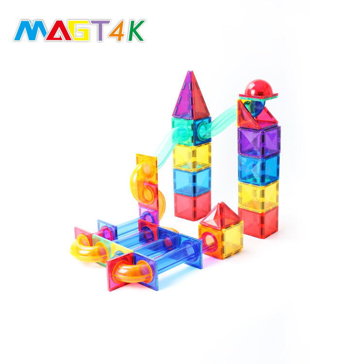MAGT4K Various Shapes Low MOQ Rolling Ball Block Track Cheap Toy Building Block 81 PCS