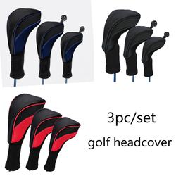 Golf Head Covers Woods Headcovers Long Neck golf club protect 3pcs Interchangeable