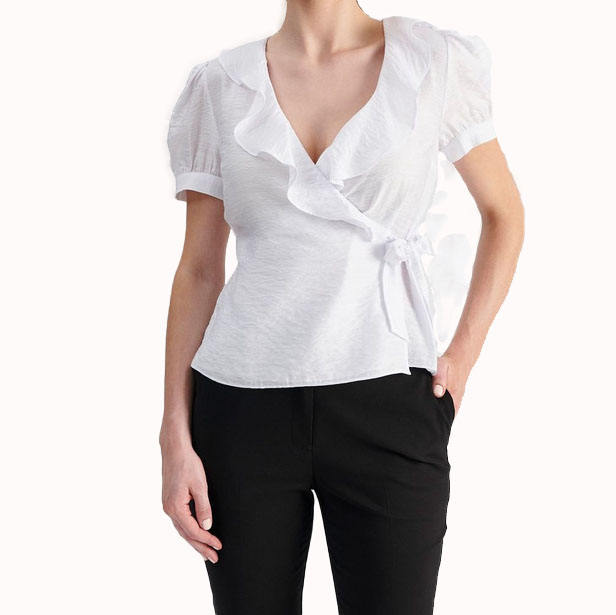 Manufacturer Wholesale Women V Neck Wrap Frill White Puff Sleeve Pleated Tops