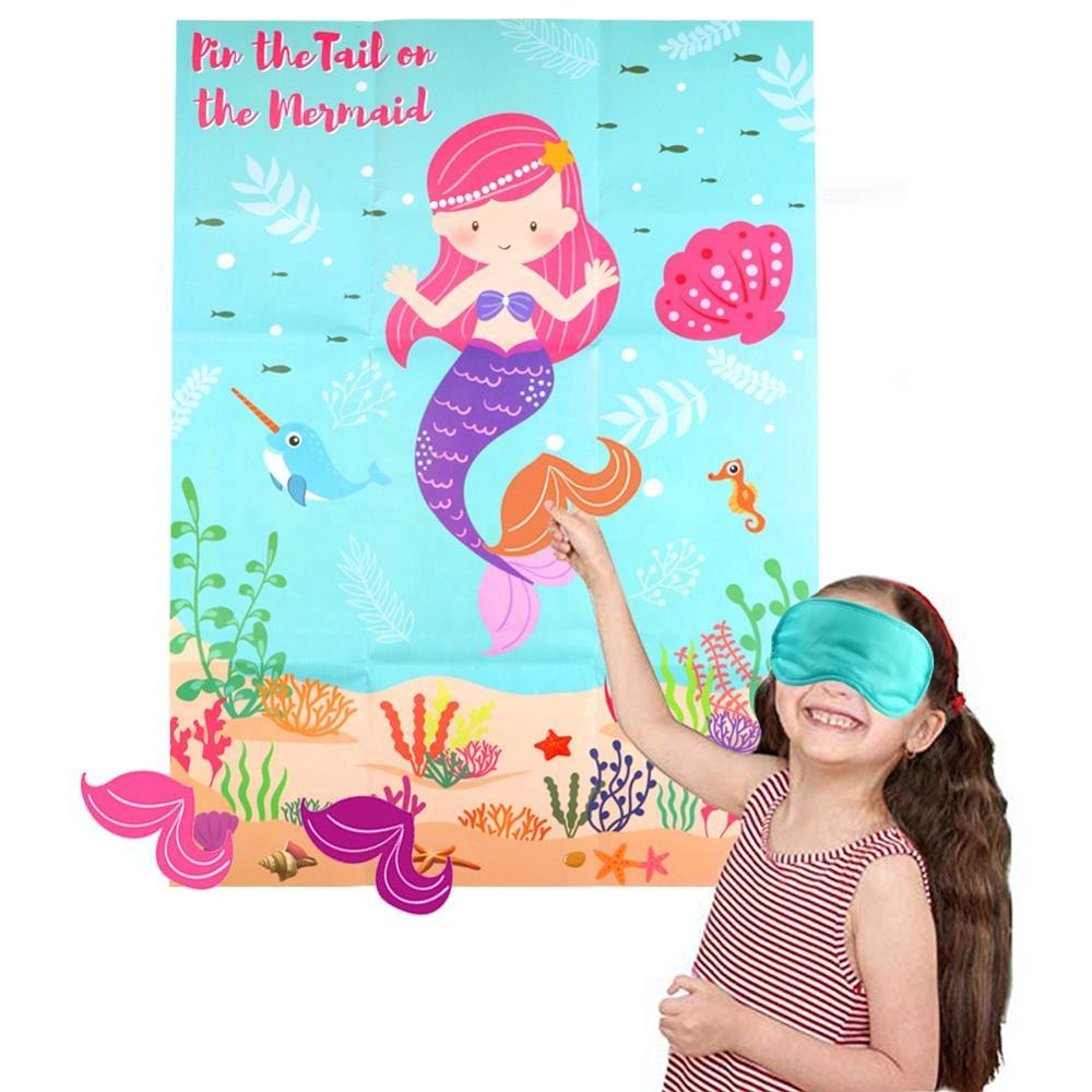 OurWarm Birthday Party DIY Decoration Mermaid Party Supplies Game Pin The Tail On The Mermaid For Boy Girl