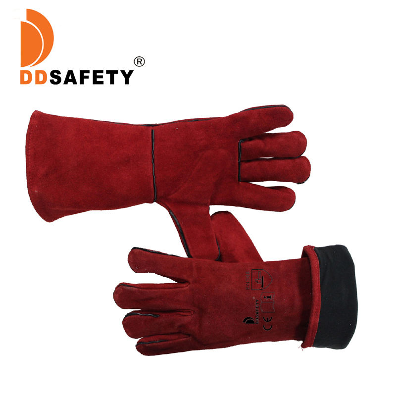 custom cheap red cow split double palm leather welding safety gloves, wholesale industry leather work welder gloves