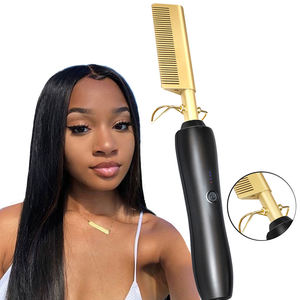 Titanium Flat Irons Hair Straightener 2 In 1 Electric Hot Comb Quick Hair Styler Portable Hair Brush Straightener
