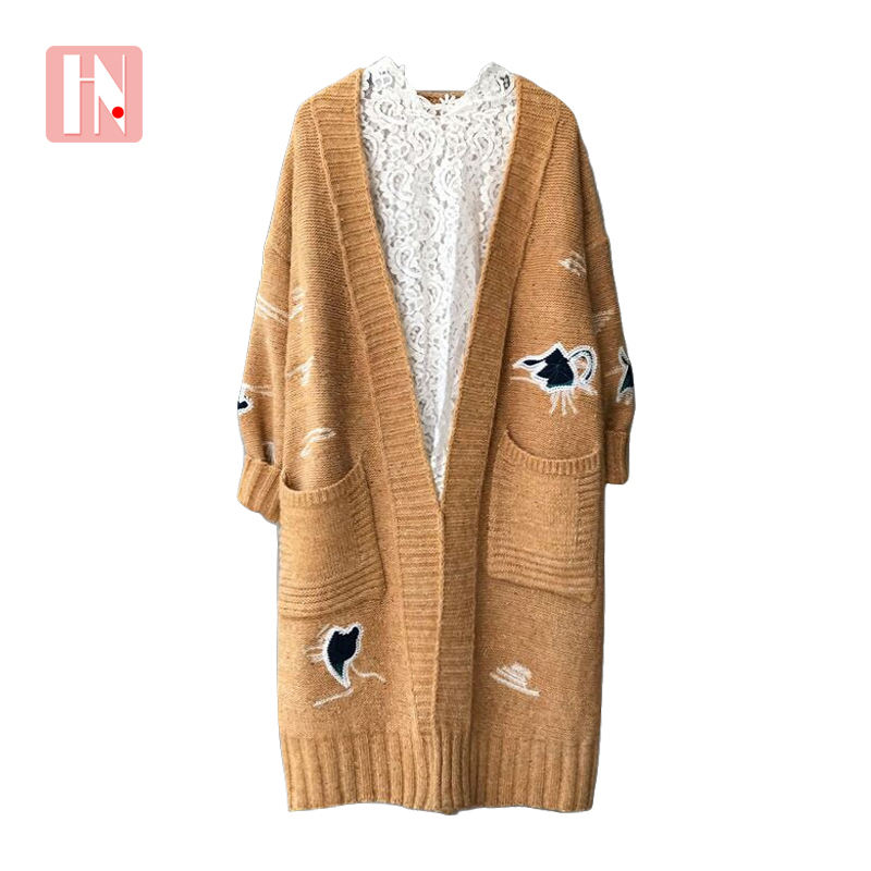 clearance winter coats beautiful Warm Thick Single buckle Cheap Boutique embroidery Plus Size Plush Long sweater