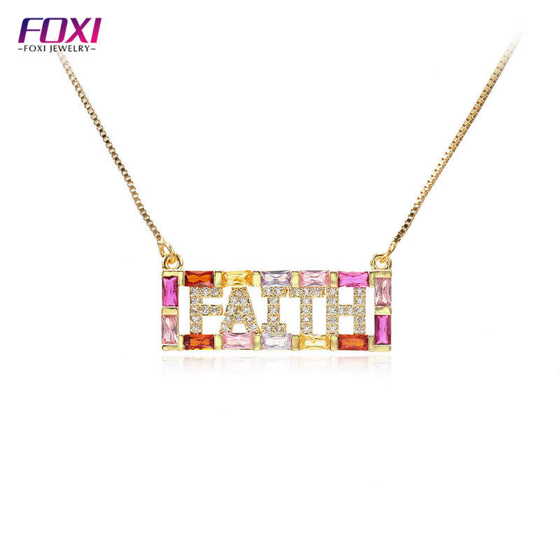 Foxi Jewelry 18k Gold Plated Brass Multicolored CZ FAITH Phrase Letter Pendant Necklaces
