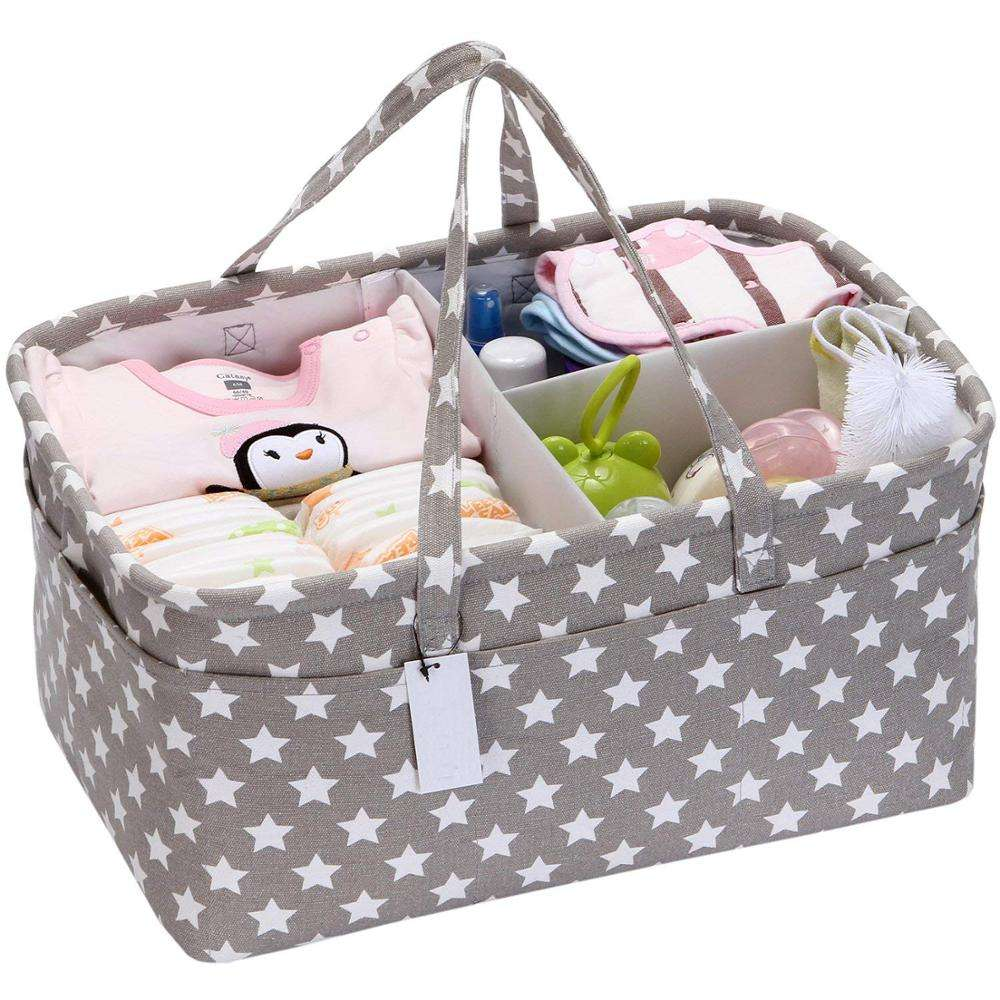 Canvas Baby Diaper Caddy Infant Nursery Tote Storage Bag Portable Organizer Basket with Detachable Divider