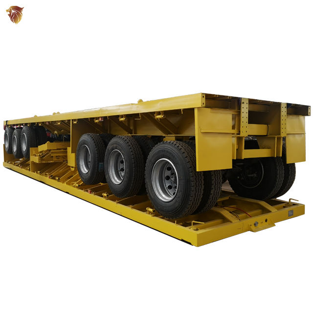 HYUAN 2Axle 3 Axle 20ft 40ft 40ton container semi flat bed flatbed trailer with container lock