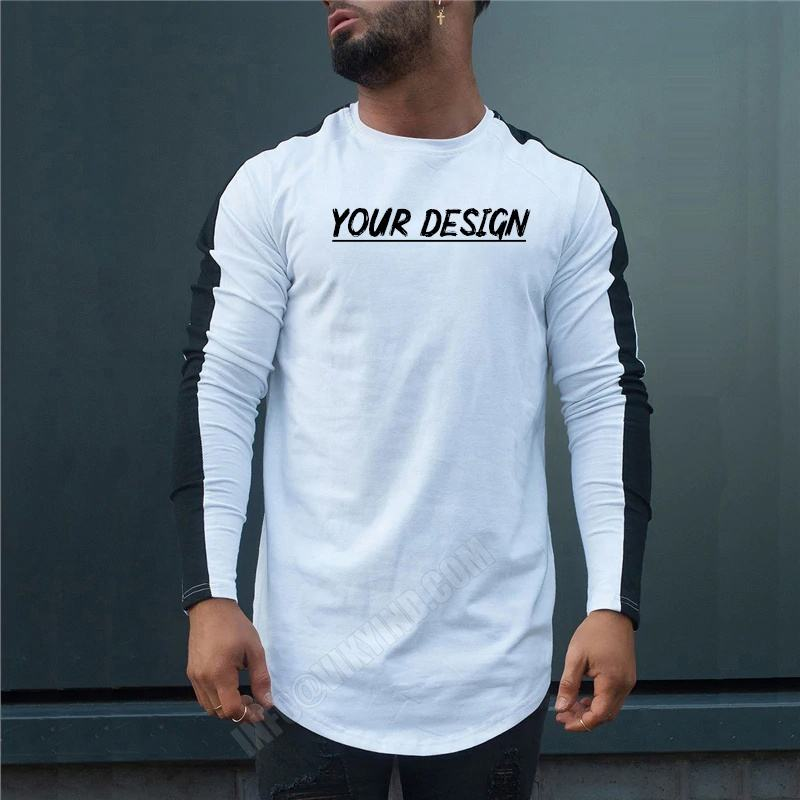 Side Strip Cotton Men's Long Sleeve T Shirt Men Slim Fit Tops Tees 2019 Fashion Autumn and summer Casual T-Shirt